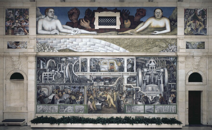 """The south wall of Rivera's <em>Detroit Industry</em> mural in the Detroit Institute of Arts. <a href=""""http://media.npr.org/assets/img/2015/03/16/image-287detroit-industry-south-wall_custom.jpg"""">Click here for a larger view.</a>"""