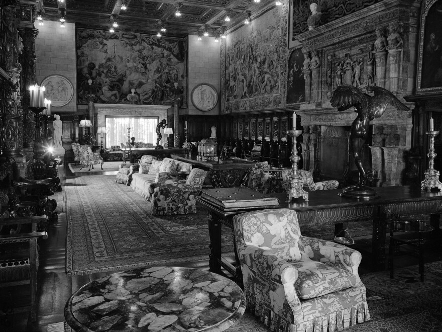 The castle living room, pictured in 1958, shortly before it opened to tourists.