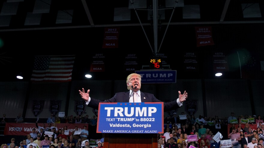 Republican presidential candidate Donald Trump speaks Monday at a rally at Valdosta State University in Valdosta, Ga.
