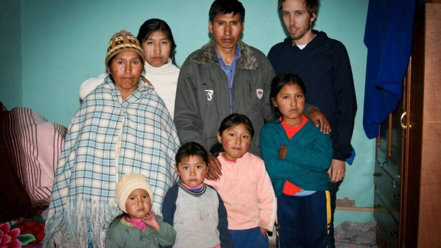 Etelvina Ramos Mamani, far left, and her husband, Eloy Rojas Mamani, and their children are one of the Bolivian families who sued the country's former president.