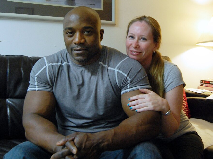 """Troy Wallace with his wife, Lynda.  Wallace is <a href=""""https://www.documentcloud.org/documents/702194-wallace-sex-offender-lawsuit.html"""">suing</a> Suffolk County, N.Y., contending its new sex offender monitoring law violates his civil rights."""