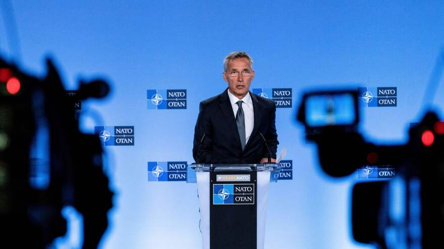 NATO Secretary-General Jens Stoltenberg speaks at a news conference about the end of the Intermediate-Range Nuclear Forces treaty at the NATO headquarters in Brussels on Friday.