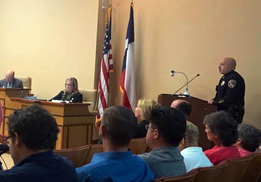 San Marcos' new interim police chief, Bob Klett, addresses City Council on Tuesday.
