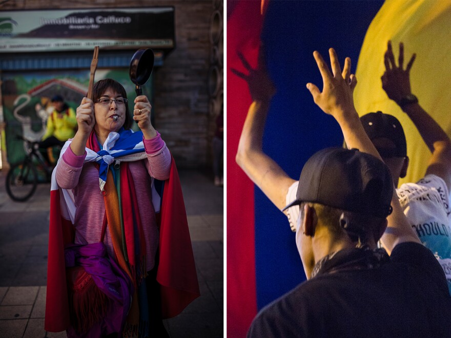 (Left) A woman protests wearing the Chilean flag at the Valdivia Square in Chile. (Right) Protesters raise their hands in Bogotá, Colombia.