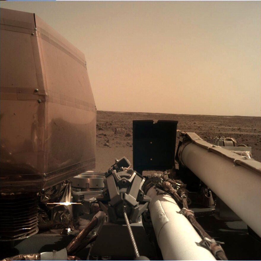 The InSight takes a picture of its new home on Mars.