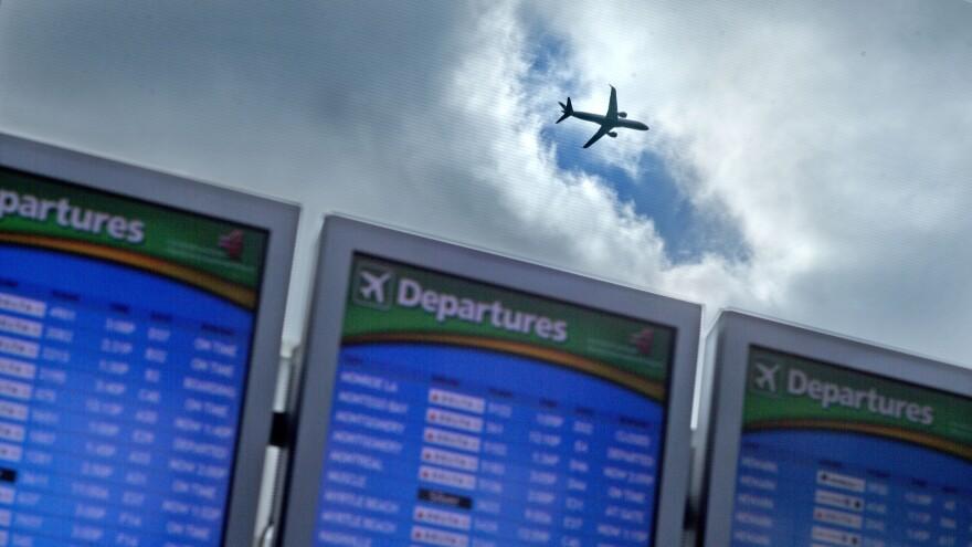 A plane takes off from Hartsfield-Jackson Atlanta International Airport.