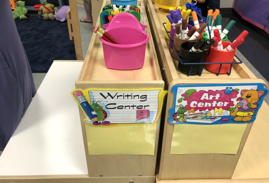 A supply station in Taylor Oliver's pre-k classroom at Big Country Elementary on Aug. 22, 2019.