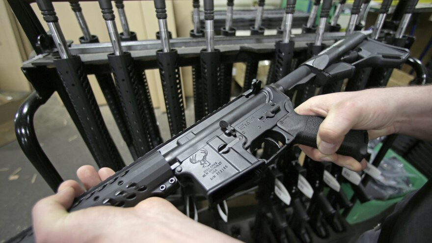 New York state's 2013 gun law includes a ban on the sale of so-called military-style assault weapons like this AR-15 rifle.