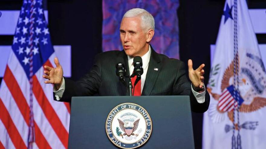 Vice President Mike Pence speaking in Doral Friday.