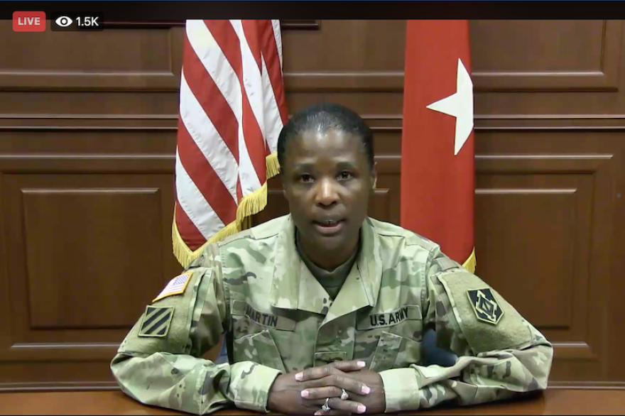 Maj. Gen. Donna Martin spoke at a virtual town hall meeting on Facebook to talk about Fort Leonard Wood's response to coronavirus (Facebook screen capture from 03-18-20)