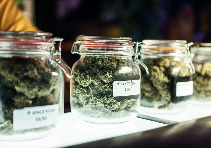Cannabis in jars. Stock photo.