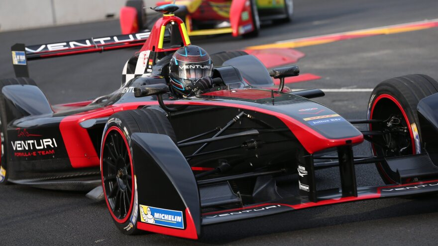 German driver Nick Heidfeld of Venturi Formula E Team. The all-electric cars can go from zero to 60 in under 3 seconds, and reach top speeds of over 150 mph.