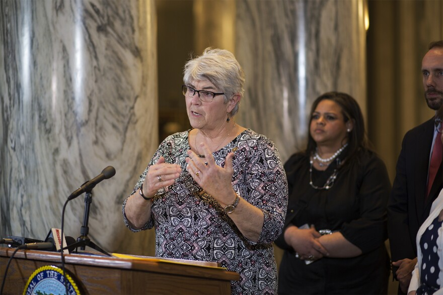 Missouri Senate Minority Leader Gina Walsh speaks to reporters on the last day of the legislative session in Jefferson City on Friday.