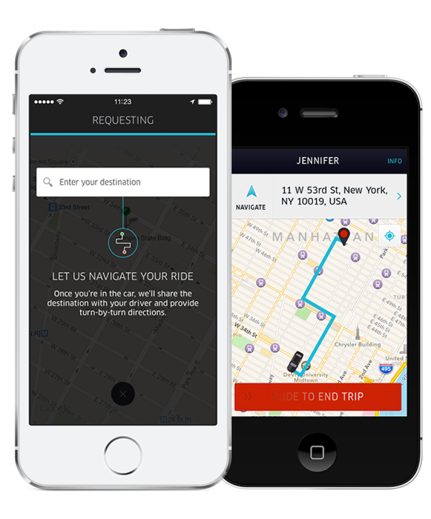 A new feature in Uber's app allows customers to enter their destination when ordering a car, and provides turn-by-turn navigation on the driver's phone once the trip begins.