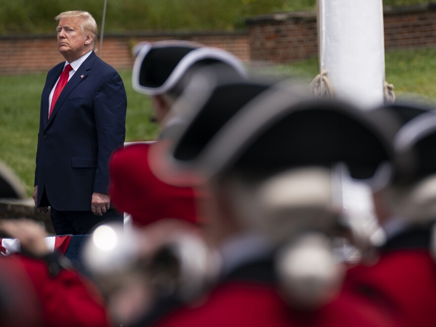 President Trump participates in a Memorial Day ceremony at Fort McHenry in Baltimore on Monday.