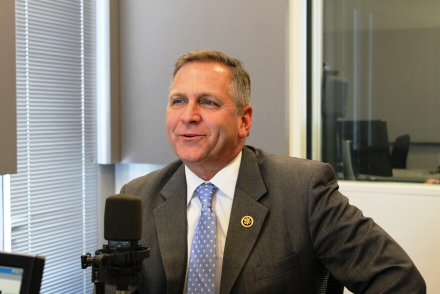 U.S. Rep. Mike Bost of Illinois' 12th congressional district talks to 'St. Louis on the Air' host Don Marsh on Feb. 19, 2015, at St. Louis Public Radio in St. Louis.