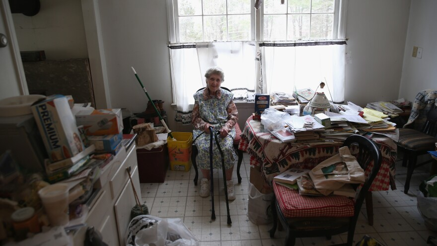 Josephine Yaroz, 90, sits in her dining room after receiving a Meals On Wheels food delivery in Montague, N.J.