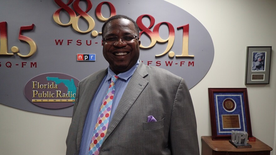 """Darryl Jones in July 2018 following an appearance on WFSU's Political """"Perspectives"""" show. He is challenging incumbent Maggie Lewis Butler to represent the 3rd district on Leon County's School Board."""