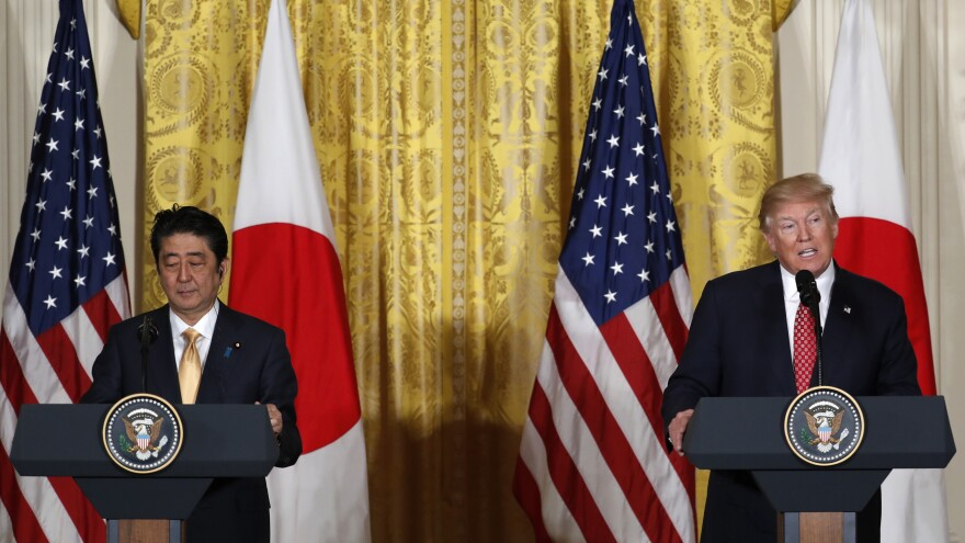 President Trump and Japanese Prime Minister Shinzo Abe hold a joint news conference in the East Room of the White House on Friday.