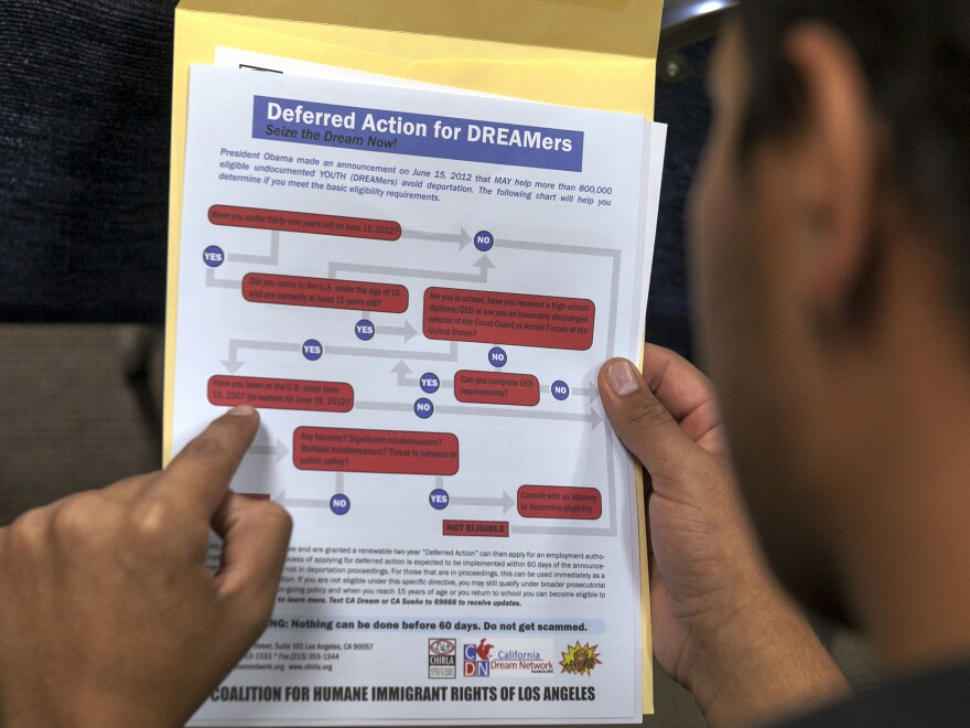 An immigrant reads a guide of the conditions needed to apply for DACA protection.