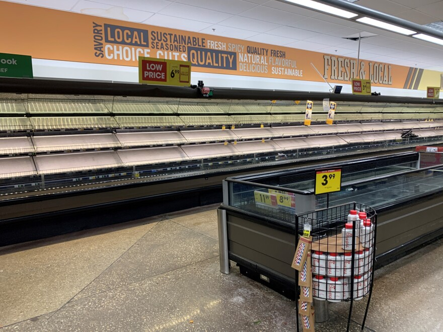 Empty meat cases at Dallas Kroger.