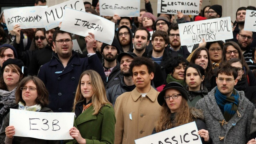 Graduate workers rally in 2014 at Columbia University for the ability to unionize.