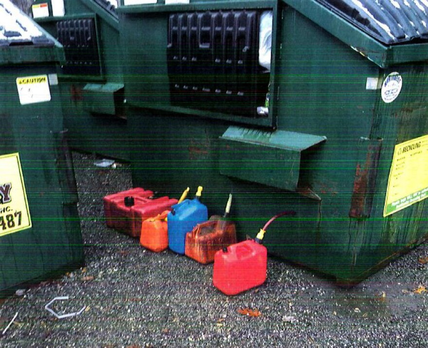 Trash near recycling bins