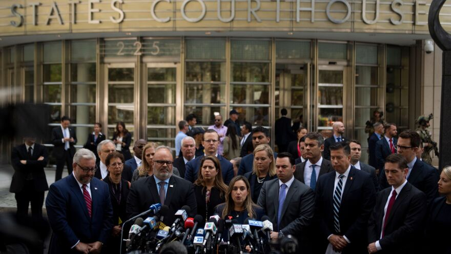 "Joaquin Guzmán, also known as ""El Chapo,"" was sentenced Wednesday to a life term in prison plus 30 years. After the sentencing in a Brooklyn courthouse, U.S. attorneys and other officials greeted the media, including Ariana Fajardo Orshan, U.S. attorney for the Southern District of Florida."