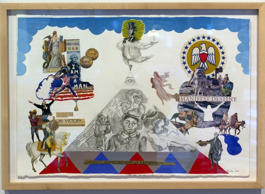 "Sarah Paulsen's ""Capitalism, Patriotism, Democracy!"" is one piece included in ""Art Is Labor.""  [12/12/19]"