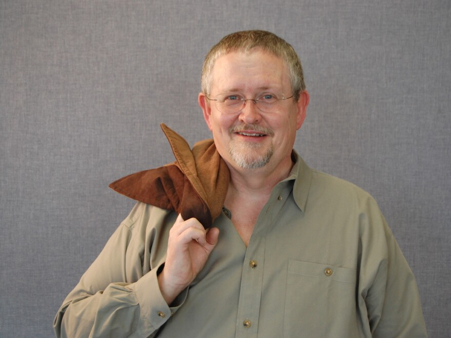 Orson Scott Card poses at Brigham Young University in Provo, Utah, in 2008.