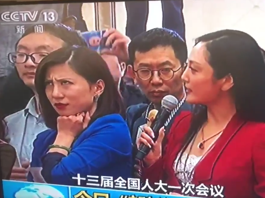 A screenshot of Liang Xiangyi, a financial news reporter, who was so disgusted by a fellow reporter's softball question to a government official at the National People's Congress that she was caught on live television rolling her eyes. The moment went viral.