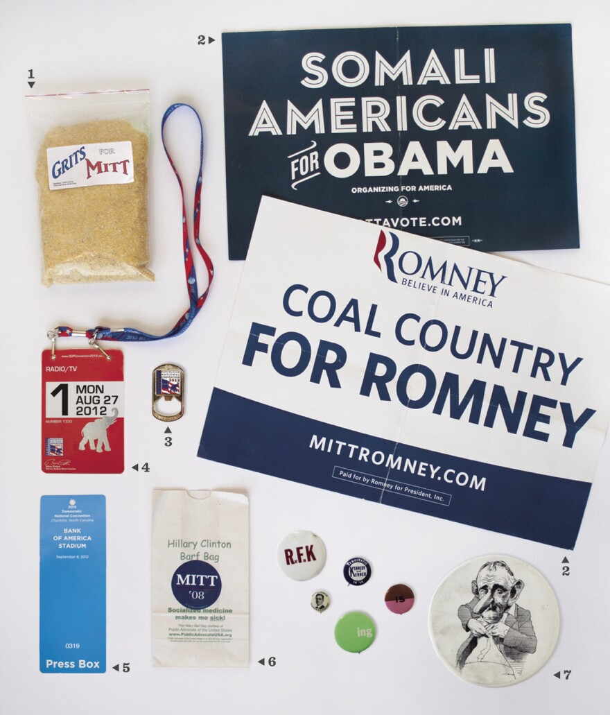 Seasoned and new election journalists from NPR talk about their favorite campaign memorabilia collected along the election trail through the years. Read the story behind each of these items, and what makes them so special, below.