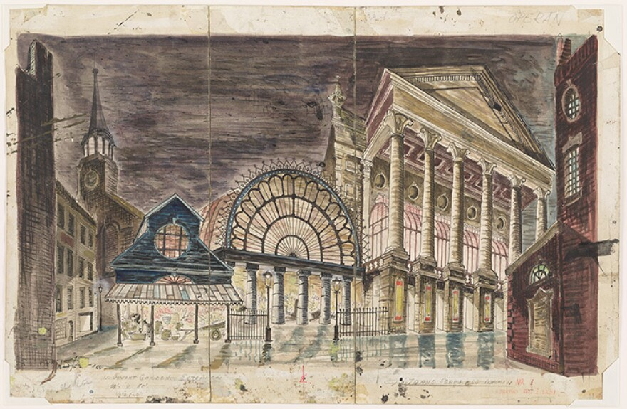 Oliver Smith's set design of Covent Garden for <em>My Fair Lady, </em>which opened at the Mark Hellinger Theatre in New York, on March 15, 1956. Watercolor and pen and ink drawing.
