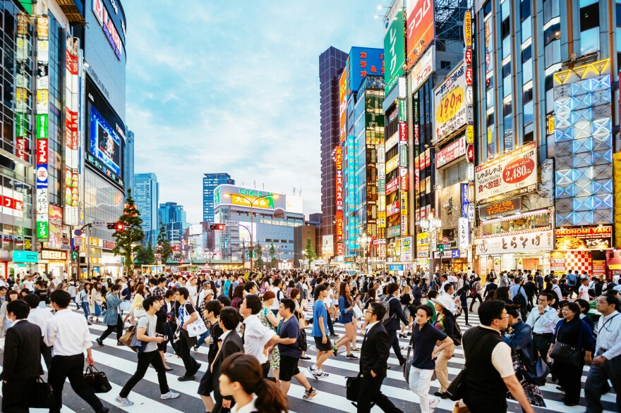 A popular crosswalk in Shinjuku, Tokyo. Cases of rubella have been reported in Tokyo and other Japanese tourist destinations.