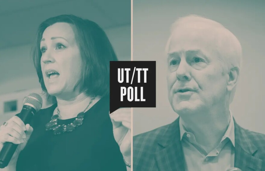 Composite image of MJ Hegar and U.S. Sen. John Cornyn with the UT/TT Poll logo