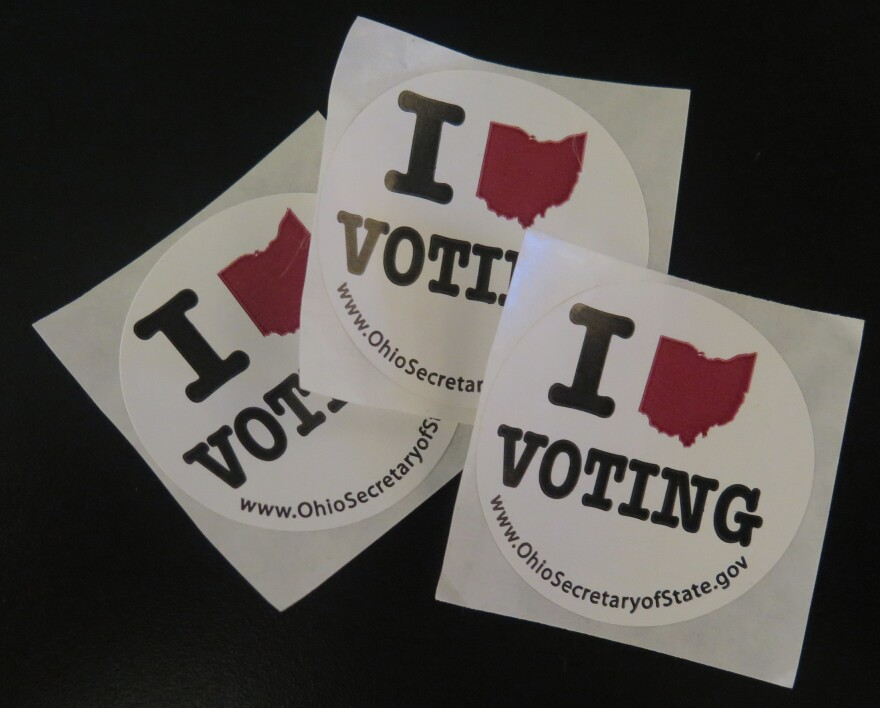 a photo of I love voting stickers