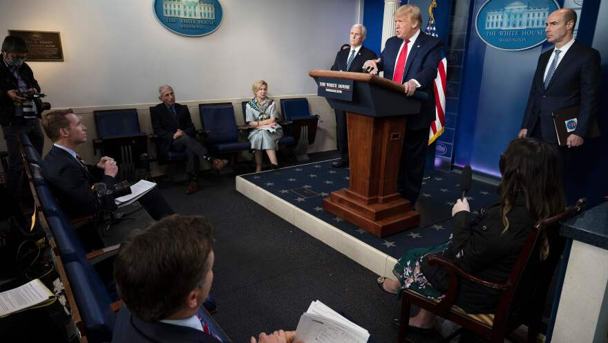 President Trump speaks during the daily briefing on the coronavirus in the Brady Briefing Room at the White House Thursday.