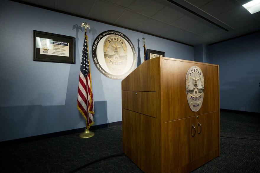 The podium at Austin Police headquarters