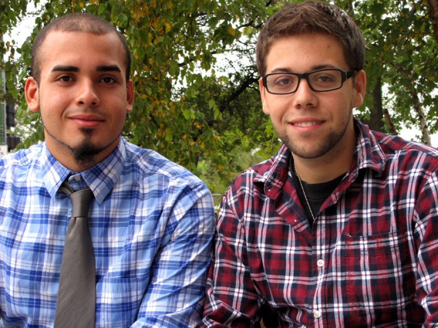 "<p>Orlando Quintana (right) and Enrique Omar Nieves frequently attend services at New Life Covenant. ""This church makes you feel like family,"" Quintana says.</p>"