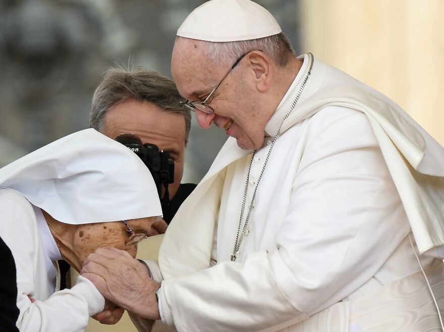 Days after footage showed Pope Francis refusing to let lay Roman Catholics kiss the papal ring, the pontiff explained it was an attempt to stop the spread of germs. On Wednesday Francis allowed 85-year-old Sr. Maria Concetta Esu to kiss his hand during his weekly general audience, in St. Peter's Square at the Vatican.