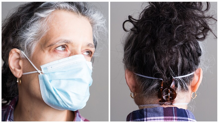 Tie the ear loops close to the edges of the mask and tuck in the side pleats to minimizes gaps (left). (Right), Use a hairclip to hold the ear loops tightly at the back of the head to achieve a tighter seal.