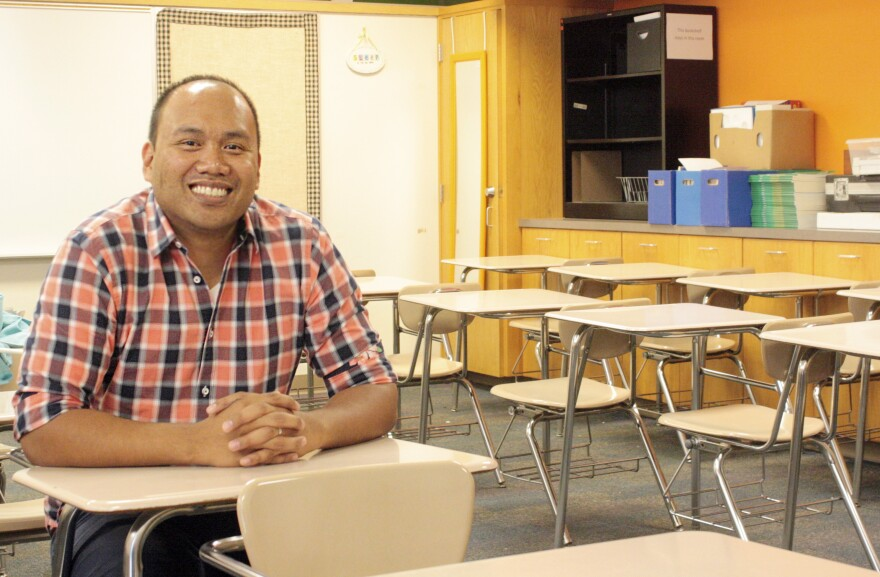 Shawn Sheehan, Oklahoma's 2016 Teacher of the Year, sits in his classroom one last time before moving to Texas for better pay.