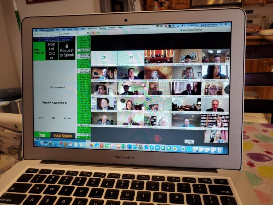Photo of a laptop computer screen showing a video conference call
