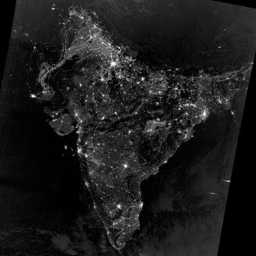 India at night, as seen from space.