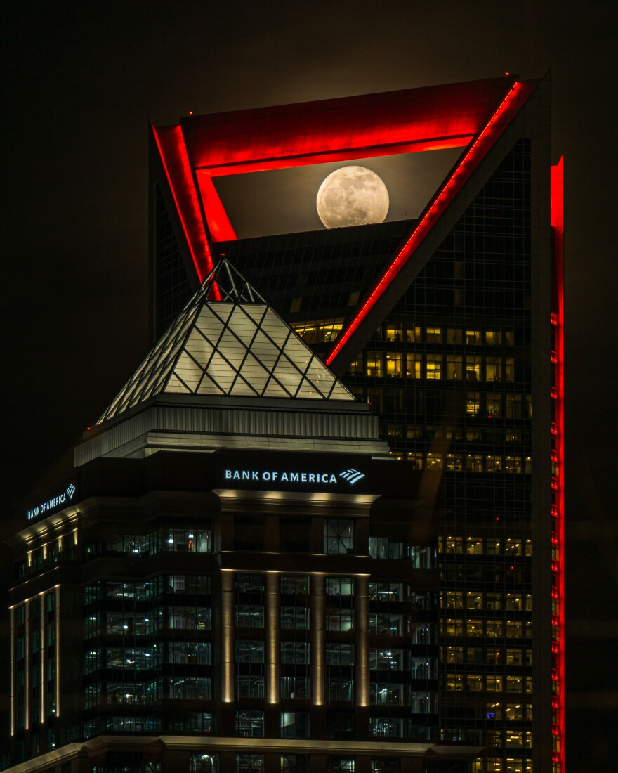 Duke Energy Center and the moon