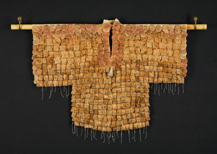 "<em>Tea Ceremony</em>, a kimono made of used tea bags by Wewer Keohane. Much like a complex Japanese tea ceremony itself, Keohane says making her kimonos ""is as much about the process as it is about the outcome."""