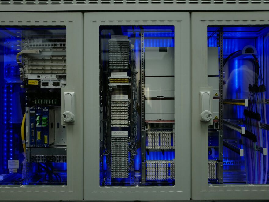 A cabinet containing components of a broadband network using optical fiber is on display at Germany's Ministry of Transport and Digital Infrastructure.