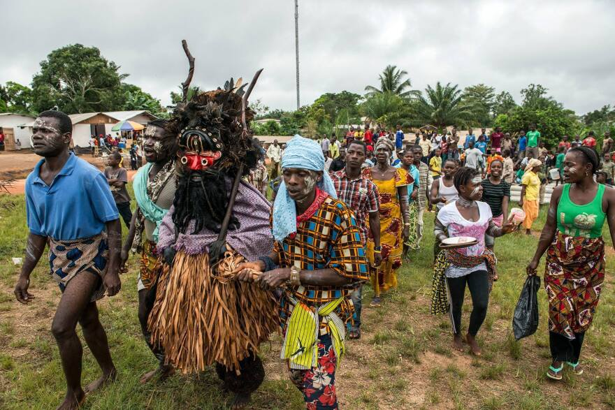 A Liberian culture group arrives at Zwedru City Hall in Grand Gedeh County, Liberia.