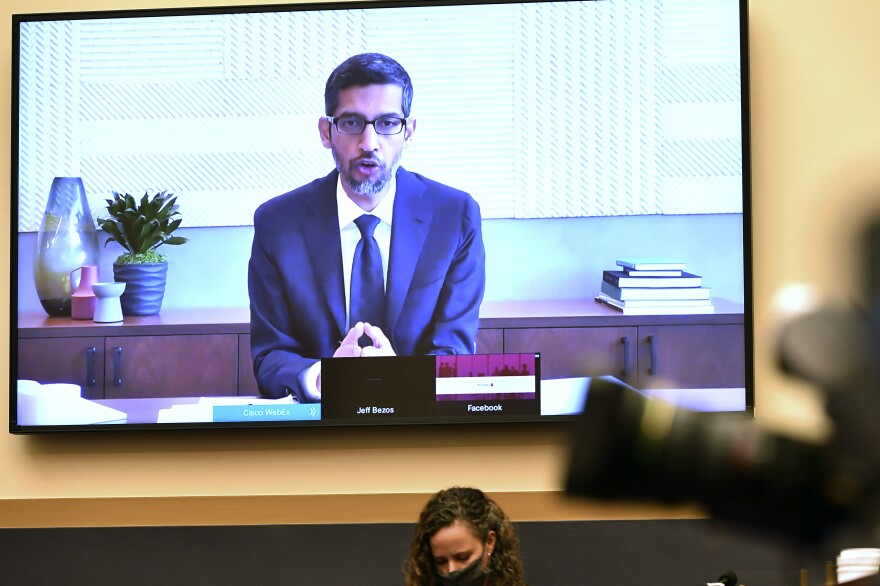 Google CEO Sundar Pichai testifies remotely during a House Judiciary subcommittee hearing on antitrust on Capitol Hill on Wednesday.