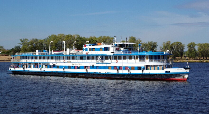 A picture taken on Sept. 11, 2010, shows the Bulgaria river cruiser heading along the Volga River near the city of Samara. More than 200 people were believed to be aboard the Bulgaria when it sank Sunday — nearly 75 percent more than the 120 the boat was licensed to carry, officials said.